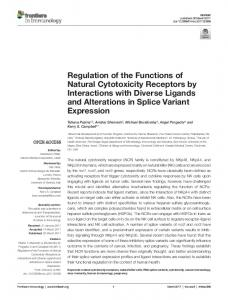 Regulation of the Functions of Natural Cytotoxicity Receptors by ...