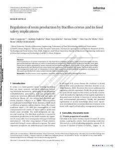 Regulation of toxin production by Bacillus cereus and ...