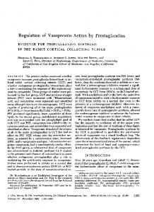 Regulation of Vasopressin Action by Prostaglandins