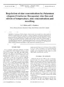 Regulation of zinc concentration by Palaemon ... - Inter Research