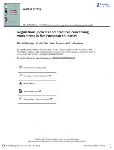 Regulations, policies and practices concerning work ...