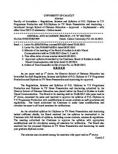 Regulations, Scheme and Syllabus of PG Diploma in TV Programme ...