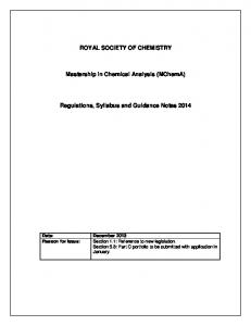 Regulations, Syllabus and Guidance Notes