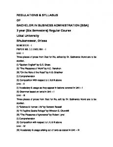 regulations & syllabus of bachelor in business administration