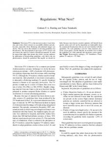 Regulations: What Next? - Wiley Online Library