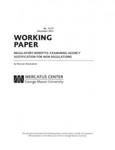 Regulatory Benefits - Mercatus Center