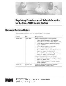 Regulatory Compliance and Safety Information for the Cisco 10000 ...