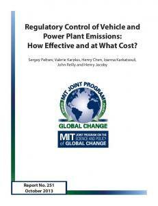 Regulatory Control of Vehicle and Power Plant ... - MIT Global Change