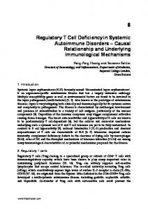Regulatory T Cell Deficiencyin Systemic Autoimmune Disorders ...