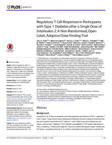 Regulatory T Cell Responses in Participants with Type 1 ... - Plos