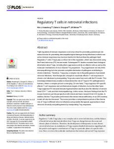 Regulatory T cells in retroviral infections - PLOS