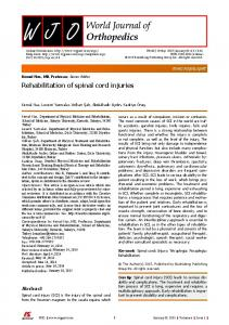 Rehabilitation of spinal cord injuries