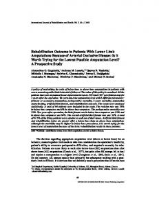 Rehabilitation Outcome in Patients With Lower Limb ... - Springer Link
