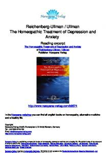 Reichenberg-Ullman / Ullman The Homeopathic Treatment of ...