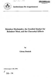 Reindeer Husbandry, the Swedish Market for Reindeer Meat, and the ...
