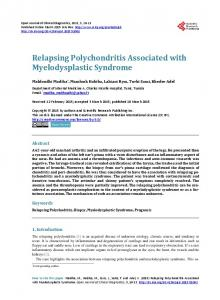 Relapsing Polychondritis Associated with Myelodysplastic Syndrome