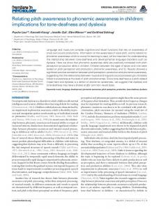Relating pitch awareness to phonemic awareness in ... - BioMedSearch