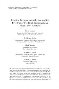 Relation Between Alexithymia and the Five-Factor Model of Personality