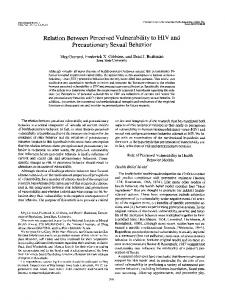 Relation Between Perceived Vulnerability to HIV and ... - CiteSeerX
