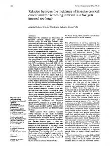 Relation between the Incidence of Invasive Cervical Cancer and the ...