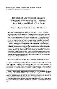 Relation of chronic and episodic stressors to psychological distress ...
