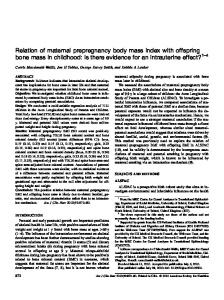 Relation of maternal prepregnancy body mass index with offspring ...