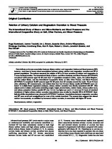 Relation of Urinary Calcium and Magnesium Excretion to Blood ...