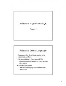 Relational Algebra and SQL - SBU