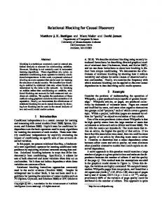 Relational Blocking for Causal Discovery - Semantic Scholar