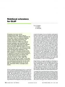 Relational extensions for OLAP - IBM