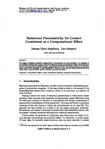 Relational Parametricity for Control Considered as a Computational ...