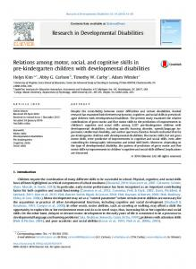 Relations among motor, social, and cognitive skills in ... - Adam Winsler's