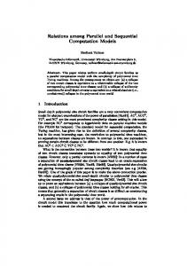 Relations among Parallel and Sequential Computation ... - CiteSeerX