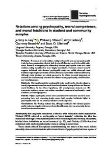 Relations among psychopathy, moral ... - Wiley Online Library