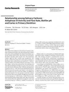 Relationship among Salivary Carbonic Anhydrase VI ...