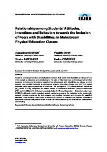 Relationship among Students' Attitudes, Intentions and ... - Eric