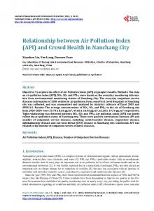 Relationship between Air Pollution Index (API) - Scientific Research ...
