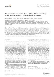 Relationship between arrival date, hatching date and breeding ...