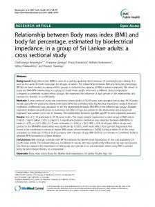 Relationship between Body mass index (BMI) and body fat percentage ...