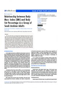 Relationship between Body Mass Index (BMI) and Body Fat ...