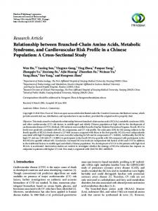 Relationship between Branched-Chain Amino Acids, Metabolic ...