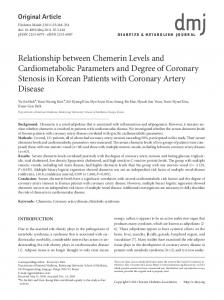 Relationship between Chemerin Levels and Cardiometabolic ...