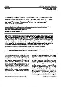 Relationship between climatic conditions and the relative abundance ...