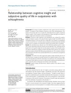 relationship between cognitive insight and subjective ... - CiteSeerX