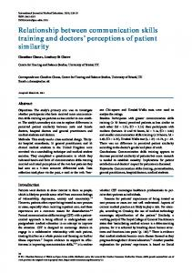 Relationship between communication skills training and doctors
