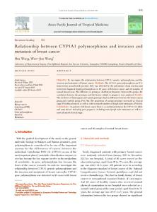 Relationship between CYP1A1 polymorphisms and invasion and ...