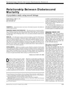 Relationship Between Diabetes and Mortality - Diabetes Care