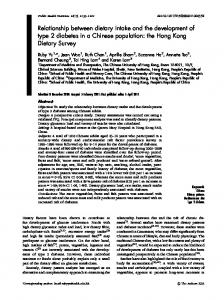 Relationship between dietary intake and the development of type 2