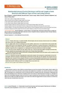 Relationship between Fracture Resistance and Ferrule ... - ECronicon