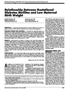 Relationship Between Gestational Diabetes Mellitus ... - Diabetes Care